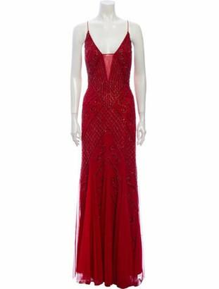 Marina Patterned Long Dress Red