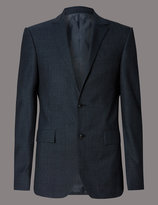 Marks And Spencer Denim Textured Tailored Fit Suit
