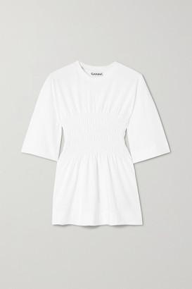 Ganni Shirred Organic Cotton-jersey T-shirt - White