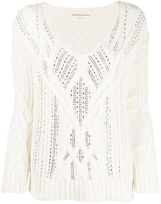 Ermanno Scervino Cable Knit Crystal Embellished Jumper