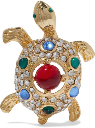 Kenneth Jay Lane Gold-tone Crystal And Resin Brooch