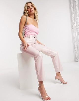 Asos DESIGN corset bodysuit in light pink