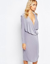 Love Slinky Drape Front Midi Dress with Long Sleeves