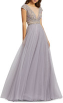 Mac Duggal Plunging Illusion Cap-Sleeve Beaded-Bodice Tulle Gown