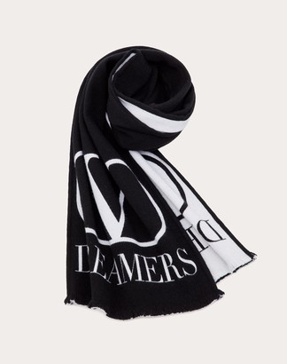 Valentino Uomo Vlogo Dreamers Scarf Man Black/white Silk 5% OneSize
