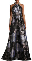 Carmen Marc Valvo Sleeveless Floral Satin Ball Gown, Black/Silver