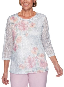 Alfred Dunner Primrose Garden Floral-Print Lace Knit Top