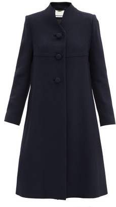 Goat Kendra Stand-collar Wool-crepe Coat - Navy