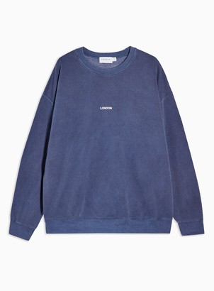 Topman Womens Navy Wash London Sweatshirt - Navy Blue