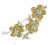 PYNK JEWELLERY Triple Light Topaz Crystal & Silver Flower Corsage Brooch