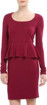 Neiman Marcus Long-Sleeve Peplum Ponte Dress, Wild Mulberry