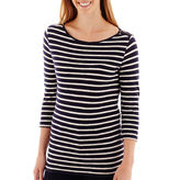 JCPenney STYLUS Stylus 3/4-Sleeve Striped Boatneck T-Shirt