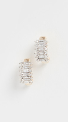 Adina 14k Stack Baguette J Hoop Earrings