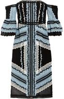 Erdem Sissy Off-the-shoulder Cotton And Silk-blend Lace Midi Dress - Sky blue