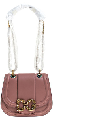 Dolce & Gabbana Pastel Pink Leather Small Amore Crossbody Bag