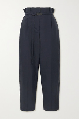 Brunello Cucinelli Belted Cotton-blend Straight-leg Pants - Navy