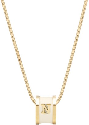 N. Initial Necklace 18Ct Gold Plated With Cream Enamel