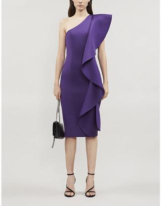Lavish Alice Asymmetric ruffled neoprene midi dress