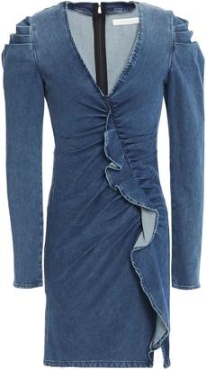 Jonathan Simkhai Gathered Ruffled Denim Mini Dress