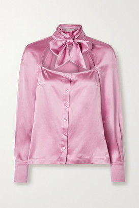 Fleur Du Mal Pussy-bow Cutout Silk-satin Blouse - Baby pink