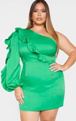 PrettyLittleThing Plus Green Asymmetric Frill Detail Shift Dress