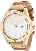 Steve Madden Screw Accented Leather Watch