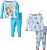 Disney Little Girls' Toddler Frozen Fair Isle Sisters 4 Piece Pajama Set
