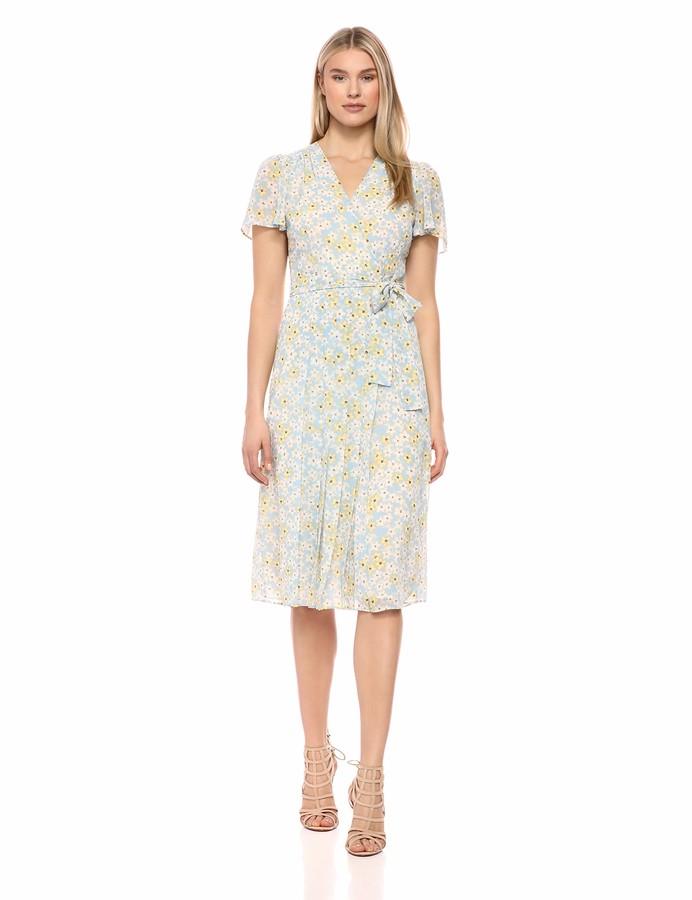 Donna Morgan Women's Short Sleeve Pleated Dress