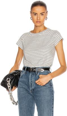 Nili Lotan Short Sleeve Baseball Tee in Black & White Stripes | FWRD