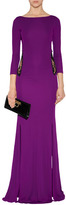 Roberto Cavalli Lace Back Jersey Gown in Purple