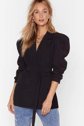 Nasty Gal Womens Feelin' Powerful Puff Shoulder Belted Blazer - black - L
