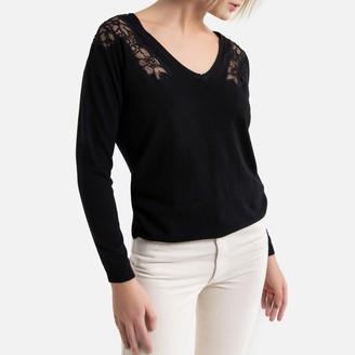 Naf Naf Fine Knit Lace Sweater with V-Neck