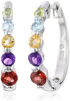 "Amazon Collection Platinum-Plated Sterling Silver Multi-Gemstone Hoop Earrings (0.7"" Diameter)"