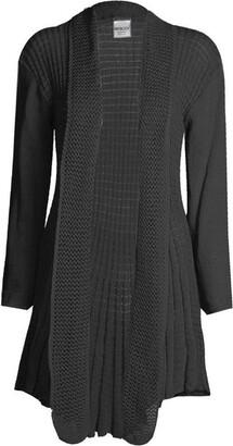 Cima Mode Womens Plus Size Plain Crochet Knitted Waterfall Cardigan Sweater 8-22 - Grey - X-Large