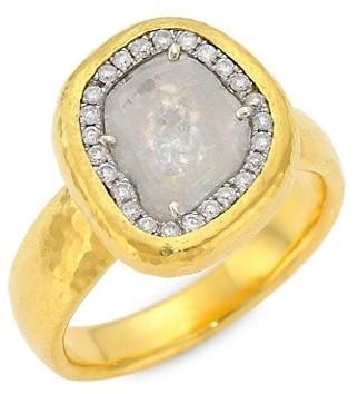 Gurhan 24K Yellow Gold, 18K White Gold & Diamond Elements Ring