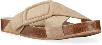 Pedro Garcia Azahar Suede Buckle Slide Sandals