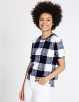 Marks and Spencer Textured Check Round Neck Short Sleeve Top