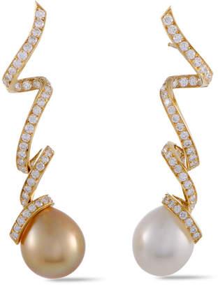 Christian Dior 18K 1.99 Ct. Tw. Diamond & Pearl Petit Caprice Drop Earrings