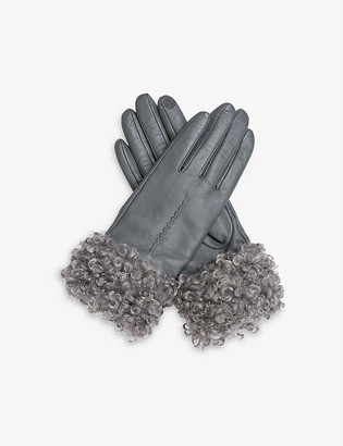 Dents Touchscreen faux-shearling cuff leather gloves