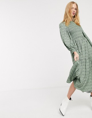 And other stories & ditsy floral smocked midi prairie dress in green
