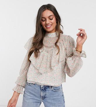Miss Selfridge Petite ruffle blouse in multi floral