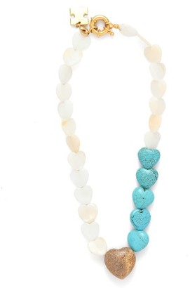 Mother of Pearl Timeless Pearly - Quartz & Mother-of-pearl Heart Choker - Womens - Blue