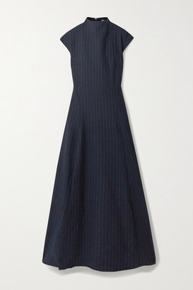 ANNA QUAN - Rhoda Pinstriped Twill Maxi Dress - Navy