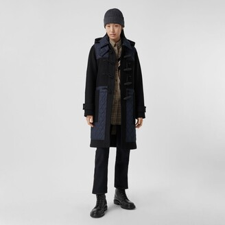 Burberry Diamond Quilted Panel Technical Wool Duffle Coat