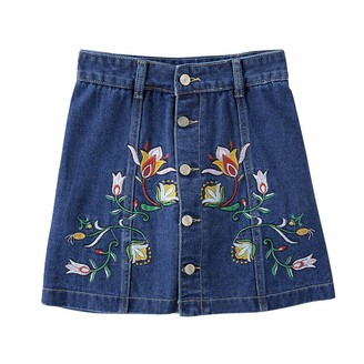 Gtagain Denim A Line Skirts Women - Ladies Embroidery High Waisted Button Front Mini Skirt Jeans Short Dress Casual Holiday Summer Retro