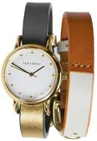 Tokyobay Tokyo Bay T612GD-GY/WH Women's Stainless Two-Tone Leather Band White Dial Smart Watch