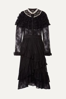 Dodo Bar Or Ruffled Crystal-embellished Lace Midi Dress - Black