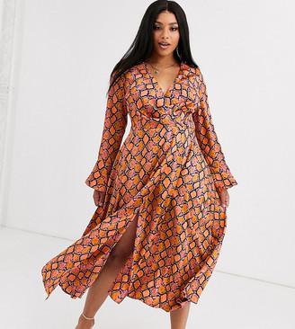 Asos DESIGN Curve wrap maxi dress in bright snake print