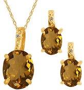 Gem Stone King 4.62 Ct Oval Whiskey Quartz Gemstone 14k Yellow Gold Pendant Earrings Set