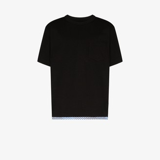 Sophnet. Striped hem cotton T-shirt